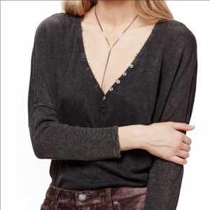 FP We The People v-neck long sleeve burnout tee